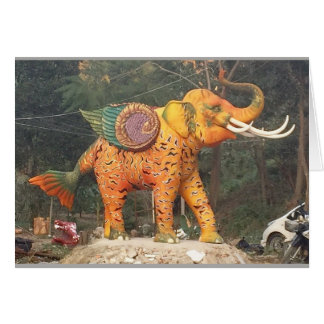 Fantasy Elephant Statue in Chiang Mai, Thailand Card