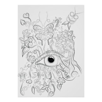 Fantasy eye drawing adult colouring poster