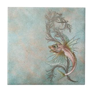 Fantasy Fish Art Nouveau Small Square Tile