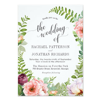 Fantasy Floral Wreath Wedding Invitation