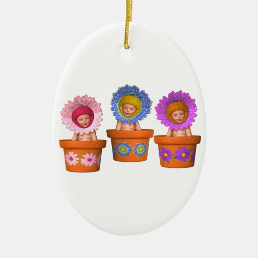 Fantasy Flower Pot Babies Oval Christmas Ornament