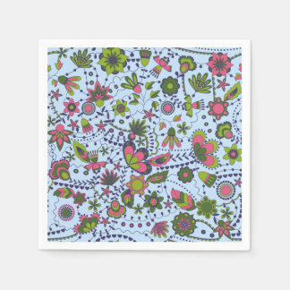 Fantasy flowers on blue disposable napkins