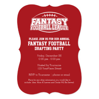 Fantasy Football Champion - Red and White 13 Cm X 18 Cm Invitation Card