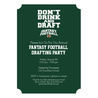 Fantasy Football - Don't Drink and Draught Card