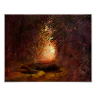 Fantasy Forest Sunset Poster