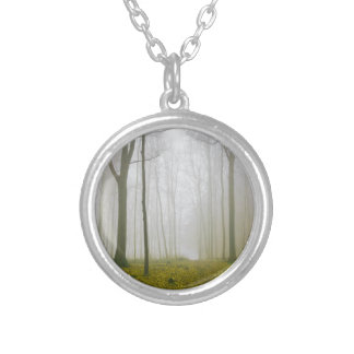 Fantasy forest with fog and yellow foliage silver plated necklace
