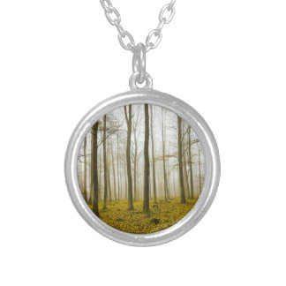 Fantasy forest with fog and yellow leaves silver plated necklace