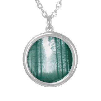 Fantasy forest with fog in Green Silver Plated Necklace