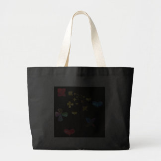 fantasy fractal with heart and flower jumbo tote bag