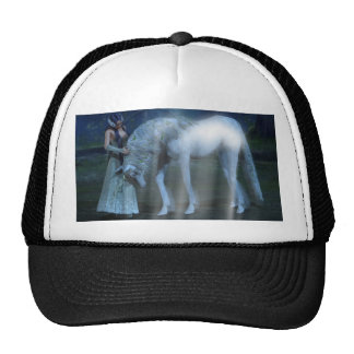 Fantasy Girl and Unicorn in the Moonlight Cap