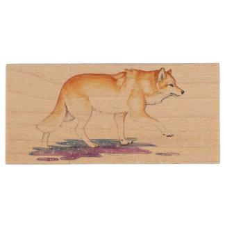 Fantasy Golden Star Creation Wolf Wood USB 2.0 Flash Drive
