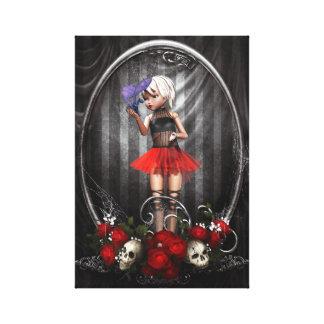 fantasy goth doll girl canvas art