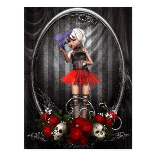 fantasy goth doll girl postcard