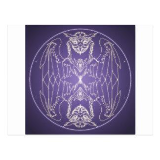 Fantasy Goth Mandala Griffon Crystal Ball Postcard