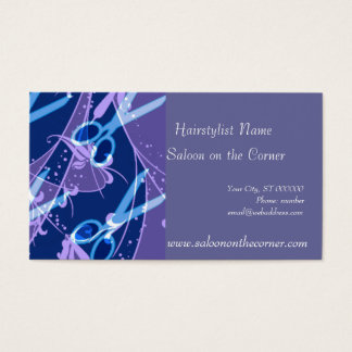 Fantasy Hair Cutting Scissors Purple Business Card