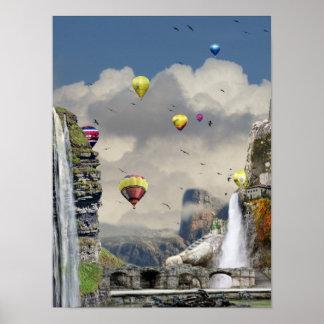 Fantasy hot air balloon art poster