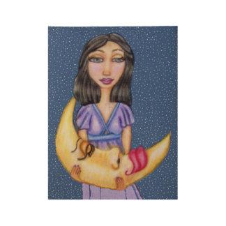 Fantasy Lady Purple Dress Sleeping Moon Face Wood Poster