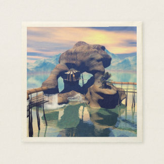 Fantasy landscape with a rock in the ocean disposable napkin