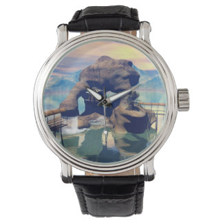 Fantasy landscape with a rock in the ocean watch