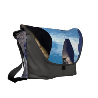 Fantasy landscape with fish house courier bag