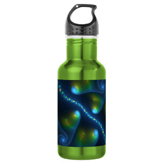 Fantasy Lights Abstract Blue Green Yellow Fractal 532 Ml Water Bottle