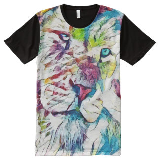 Fantasy Lion Face Watercolor Pencil Art All-Over Print T-Shirt