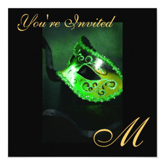 Fantasy Masquerade Mask Monogram Green Invitation
