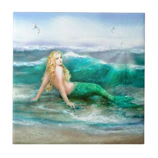 Fantasy Mermaid on Shore of Aqua Blue Sea Small Square Tile