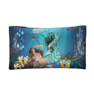 Fantasy Mermaid With Fish Small Cosmetic Bag