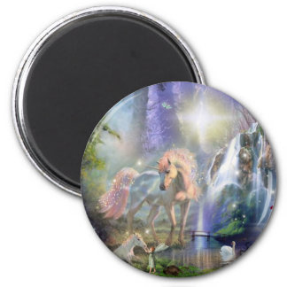 fantasy Mother Unicorn and Baby 6 Cm Round Magnet