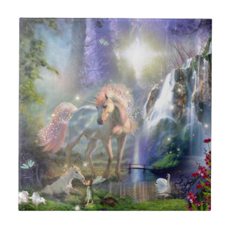 fantasy Mother Unicorn and Baby Small Square Tile