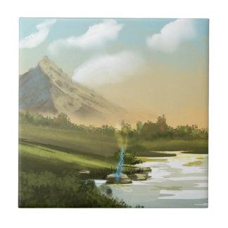 Fantasy mountain sword small square tile