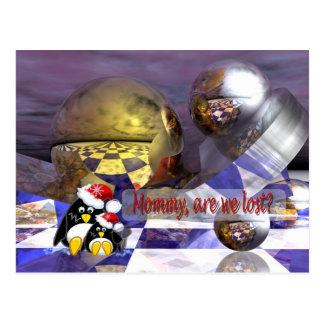 fantasy penguins card postcard