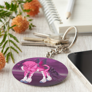 Fantasy Pixie Fairy Clydesdale Horse Basic Round Button Key Ring