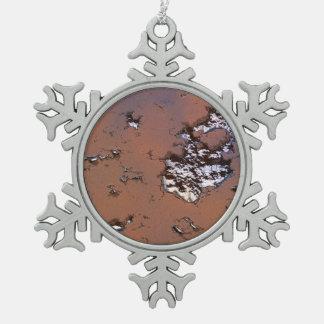 fantasy planet surface 1 snowflake pewter christmas ornament