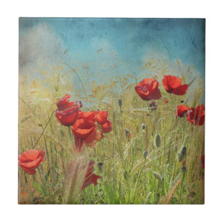 Fantasy poppies small square tile