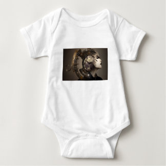 Fantasy Portrait Surreal Woman Helm Clock Baby Bodysuit