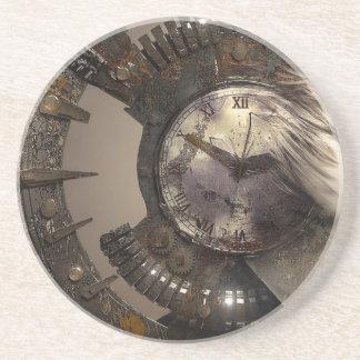 Fantasy Portrait Surreal Woman Helm Clock Coaster