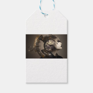 Fantasy Portrait Surreal Woman Helm Clock Gift Tags