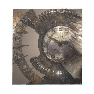 Fantasy Portrait Surreal Woman Helm Clock Notepad