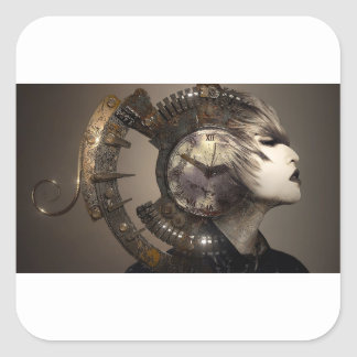 Fantasy Portrait Surreal Woman Helm Clock Square Sticker