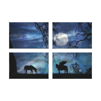 Fantasy Quad Unicorn and Pegasus Gallery Wrapped Canvas Print