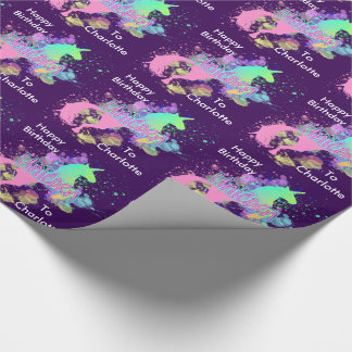 Fantasy Rainbow Unicorn Personalized Wrapping Paper