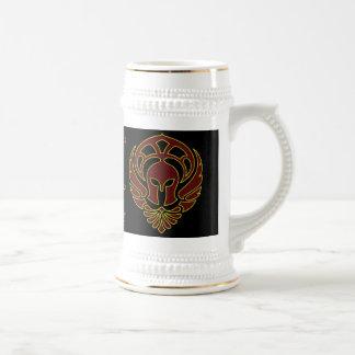 Fantasy Red Greek Warrior's Spartan Stein Coffee Mug