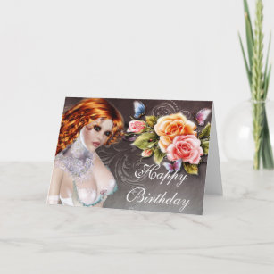 Fantasy Redhead With Roses Birthday Card