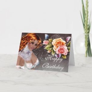 Fantasy Redhead With Roses Birthday Card 2