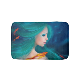 fantasy sea mermaid with red fishes Bath Mat Bath Mats