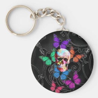 Fantasy skull and colored butterflies basic round button key ring
