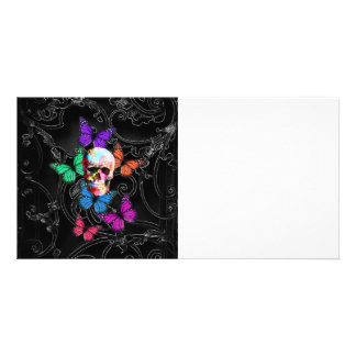 Fantasy skull and colored butterflies personalized photo card
