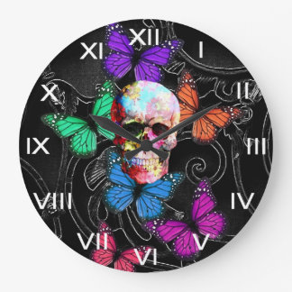 Fantasy skull and colored butterflies wall clock
